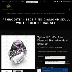 1.85ct Pink Diamond And Skull White Gold Bridal Set