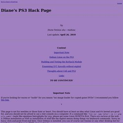 Diane's PS3 Hack Page