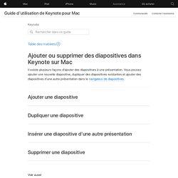 Ajouter ou supprimer des diapositives dans Keynote sur Mac - Assistance Apple