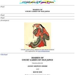 Diaries of Court Ladies of Old Japan.