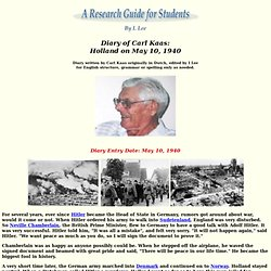 Diary of Carl Kaas - May 10, 1940 - A Research Guide for Students