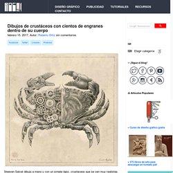 Dibujos de crustáceos con cientos de engranes dentro de su cuerpo