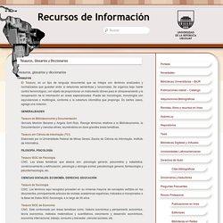 Tesauros, Glosarios y Diccionarios