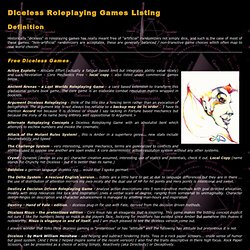 Diceless Roleplaying Game Rules - links