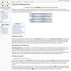 Function dichotomies