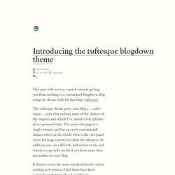 Introducing the tuftesque blogdown theme
