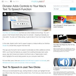 Dictater Adds Controls to Your Mac's Text To Speech Function
