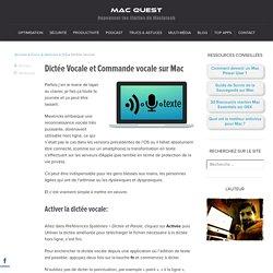 Dictée Vocale et Commande vocale sur Mac