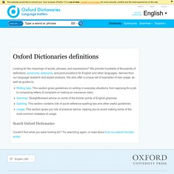 Oxford Dictionaries definitions (english)