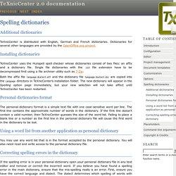 Spelling dictionaries — TeXnicCenter 2.0 documentation