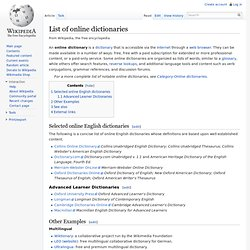List of online dictionaries