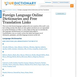 Foreign Language Online Dictionaries and Free Translation Links