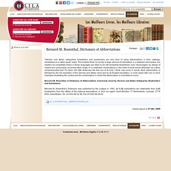 Bernard M. Rosenthal, Dictionary of Abbreviations - Article livres rares, livres anciens, manuscrits, autographe, éditions originales, livres... - ILAB-LILA