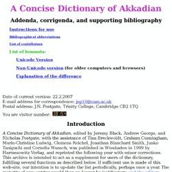 A Concise Dictionary of Akkadian ? addenda, corrigenda, and supporting bibliography