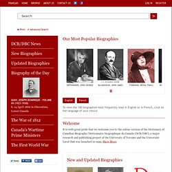 Dictionary of Canadian Biography Online