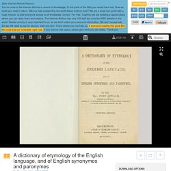 A dictionary of etymology of the English language, and of English synonymes and paronymes : Oswald, John, 1804-1867