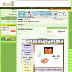 Nutrition Dictionary- Interactive Online Nutrition Words Dictionary- Free Dictionary Tool