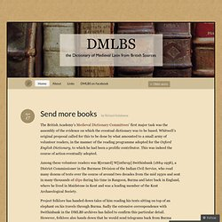 DMLBS « the Dictionary of Medieval Latin from British Sources