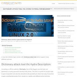 Dictionary attack tool thc-hydra tutorial for beginner