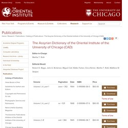 The Assyrian Dictionary of the Oriental Institute of the University of Chicago (CAD)