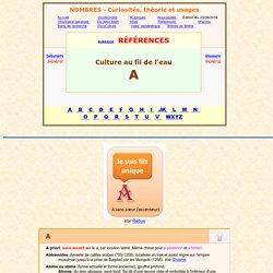 Dictionnaire culture au fil de l'eau, LETTRE A