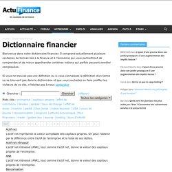 Dictionnaire financier : définitions financières