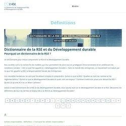 Dictionnaire de la RSE et du Développement Durable