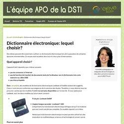 Dictionnaire électronique: lequel choisir?