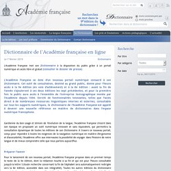 Dictionnaire de l'Académie française en ligne