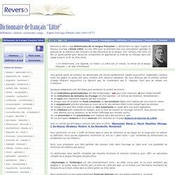 Dictionnaire Littré en ligne : dictionnaire de français Littré adapté du grand dictionnaire de la langue française d