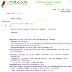 Dictionnaire ancien français en ligne : langue du Moyen Âge LEXILOGOS