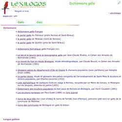 Dictionnaire gallo en ligne (langue romane de Bretagne)