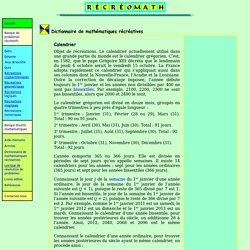 Dictionnaire de mathématiques récréatives Calendrier