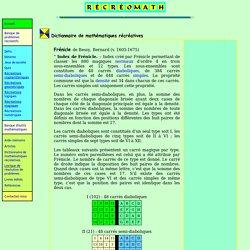 Dictionnaire de mathématiques récréatives Index de Frénicle