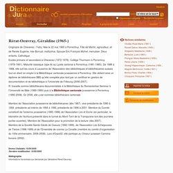 DIJU - Dictionnaire du Jura – Rérat-Oeuvray, Géraldine (1965-)