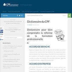 Dictionnaire du CPF - Compte personnel de formation