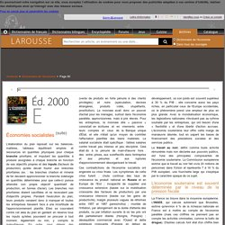 Archive Larousse : Dictionnaire de l'économie - Économies socialistes - Économie souterraine