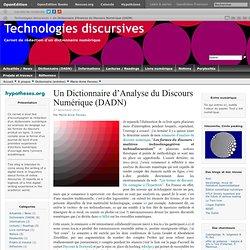 Un Dictionnaire d'Analyse du Discours Numérique (DADN)