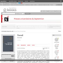 Dictionnaire critique de la RSE - Travail - Presses universitaires du Septentrion