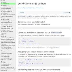 Apprendre à utiliser des dictionnaires en python - documentation python français french