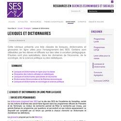 Lexiques et dictionnaires — Sciences économiques et sociales