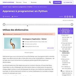 Utilisez des dictionnaires - Apprenez à programmer en Python