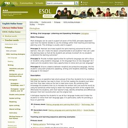 Dictogloss / Writing / ESOL teaching strategies / Pedagogy / Teacher needs / ESOL Online / English - ESOL - Literacy Online website - English - ESOL - Literacy Online