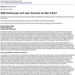 Did Swisscom Sell Secrets to the USA?