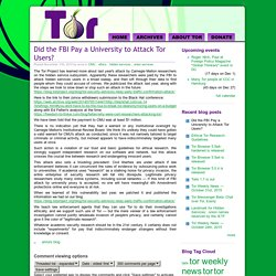 Did the FBI Pay a University to Attack Tor Users?