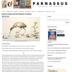 Sarah Lindsay and the Didactic Tradition : Parnassus Poetry