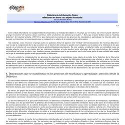 Didáctica de la Educación Física-Reflexiones en torno a su objeto de estudio