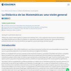 La Didáctica de las Matemáticas: una visión general