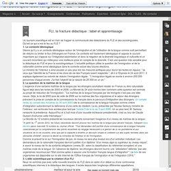 Didactique des langues / FLE - Claude Springer: FLI, la fracture didactique : label et apprentissage