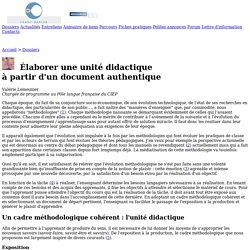 Franc-parler - Dossiers : Élaborer une unité didactique à partir d'un document authentique